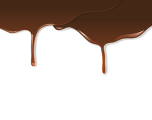 Melted chocolate dripping on white