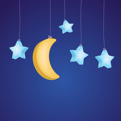 stars and moon as childish background