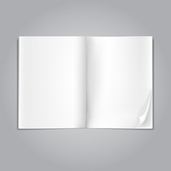 open blank magazine pages on grey