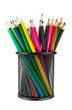 Various color pencils in black office cup