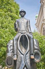 Franz Kafka statue in Prague, Czech Republic