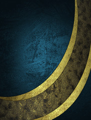 Abstract blue and gold textures separated golds ribbons