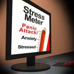 Stress Meter On Laptop Showing Panic Attack