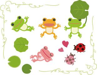 緑のフレームとカエルたち