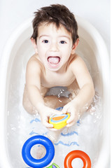 Happy Toddler taking a bath