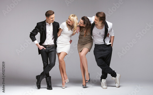 Small group of laughing models