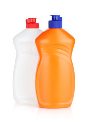 Plastic bottles of cleaning products