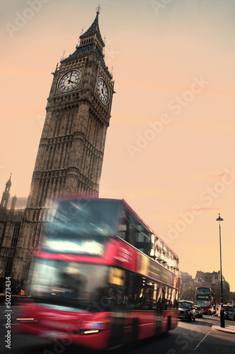Deurstickers Londen rode bus Big Ben and London transport