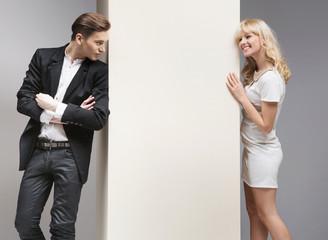 Soft flirt between attractive couple