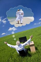 Businessman Dreaming Vacation Retirement Desk Green Field