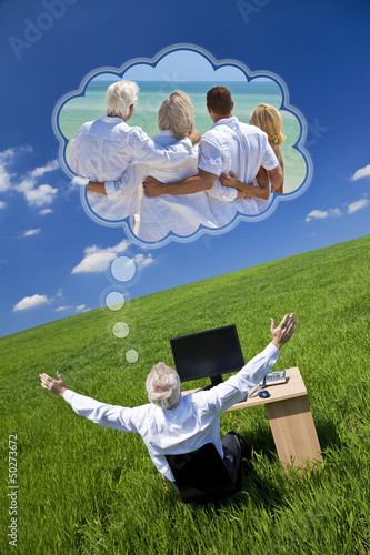 Man Dreaming Family Vacation Holiday Desk Green Field
