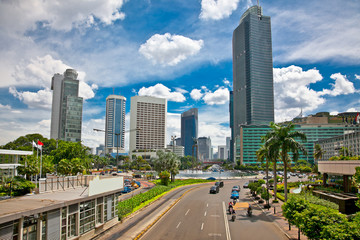 Jalan Bundaran HI center of Jakarta, Indonesia.