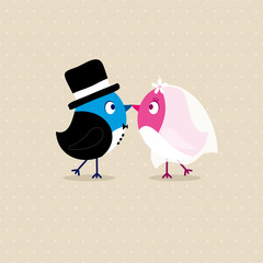 Wedding Couple Birds Beige Dots