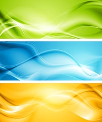 Elegant smooth waves vector banners