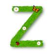 Grass letter Z on white background