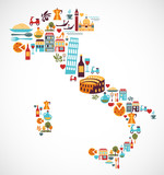 Fototapety Italy map with vector icons