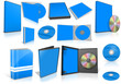 Blue multimedia disks and boxes on white