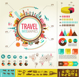 Fototapety Travel and tourism infographics with data icons, elements