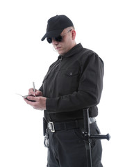 Policeman taking notes