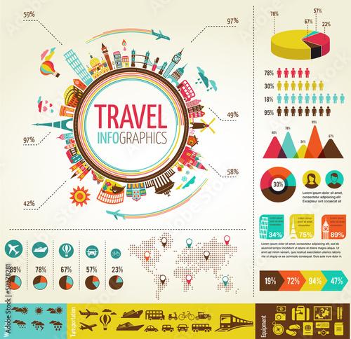 Infografiki podróży i turystyki z ikony danych, elementy