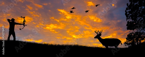 Foto op Canvas Jacht Bow Hunting Silhouette