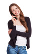 Cheerful girl talking on a mobile phone