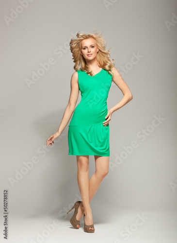 Smiling blonde cutie wearing spring collection