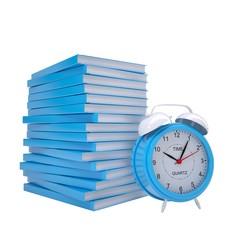 Blue books and alarm clock