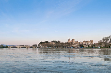 Avignon from the other shore of the Rhone River, France