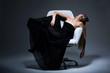 Harmony & Sensuality. Romantic Blond in Black Dress resting
