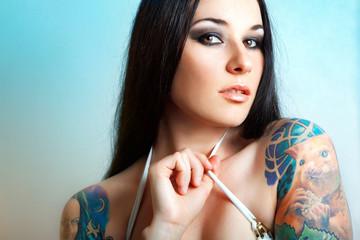 Sexy Caucasian tattooed woman