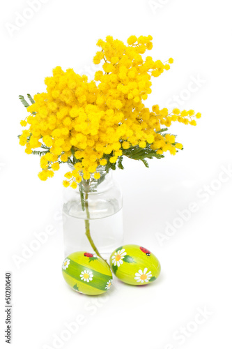 mimosa flower and Easter eggs