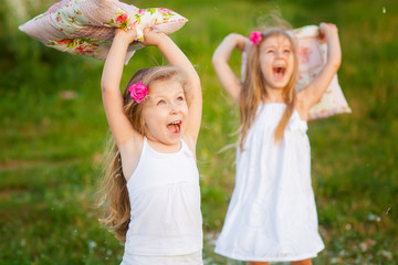 Two lovely girls playing on meadow