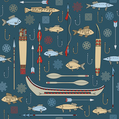 seamless pattern of Indian fishing