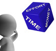 Effort Time Money Dice Representing Ingredients For Business Pro