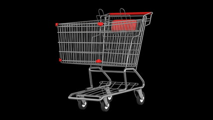 empty shopping cart loop rotate on black background