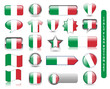ITALIAN FLAG BUTTON SET (italy soccer football icon stamp)