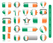 IRISH FLAG BUTTON SET (ireland rubgy soccer football icon stamp)