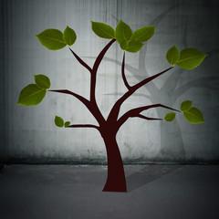 árbol con fondo de pared de ciudad