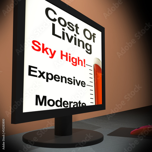 Cost Of Living On Monitor Showing Budget