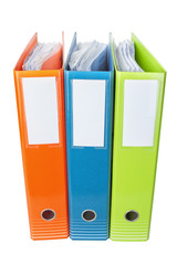 Office folders with documents. On a white background.
