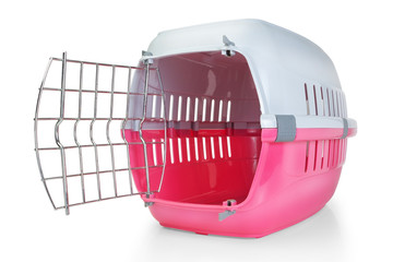 Cage for transporting pets. With the door open.