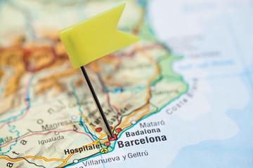 Reiseziel Barcelona mit Flagge