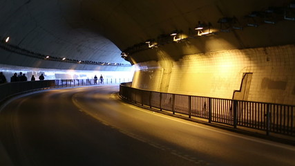 time lapse road tunnel