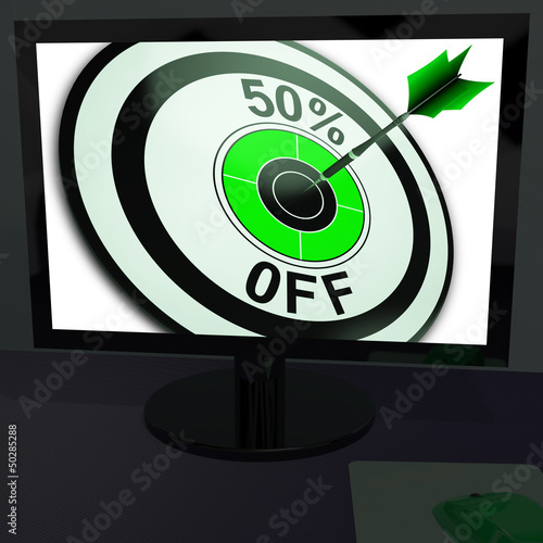 Fifty Percent Off On Monitor Showing Special Discounts