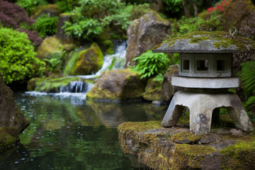 rock lantern in portland japanese garden