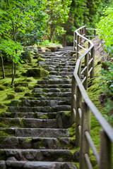 Rustic stone stairway, Portland Japanese Garden