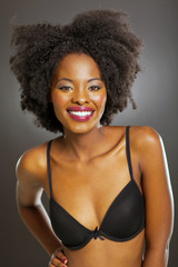african woman in black bra