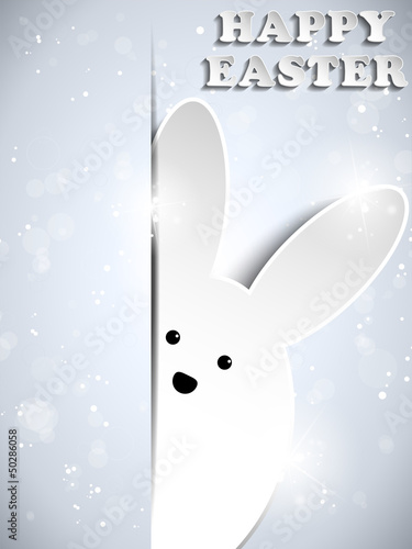 Happy Easter Silver Rabbit Shiny Metal
