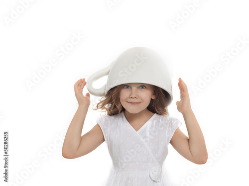girl with big cup on her head